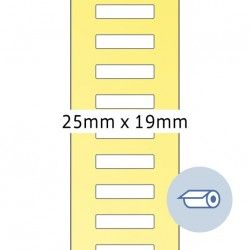 Etykiety na rolach do druku termotransferowego, 23 x 19 mm, białe matowe, klej permanentny.