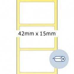 Etykiety do druku termotransferowego, 42 x 15 mm, białe matowe, klej permanentny.
