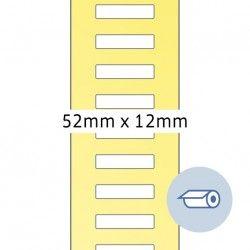 Etykiety do druku termotransferowego, 52 x 12 mm, białe matowe, klej permanentny.
