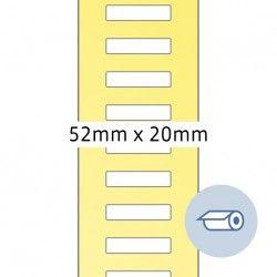 Etykiety do druku termotransferowego, 52 x 19,5 mm, białe matowe, klej permanentny.
