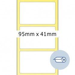 Etykiety do druku termotransferowego, 95 x 41 mm, białe matowe, klej permanentny.