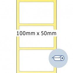Etykiety do druku termotransferowego, 100 x 50 mm, białe matowe, klej permanentny.