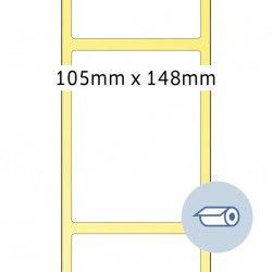 Etykiety do druku termotransferowego, 105 x 148,5 mm, białe matowe, klej permanentny.