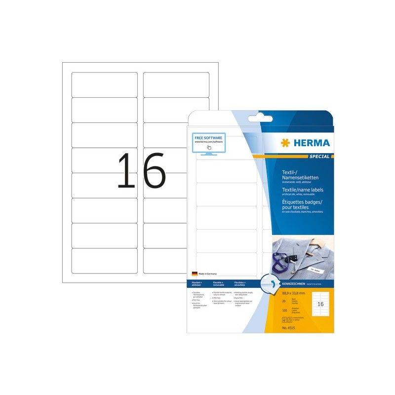 Etykiety 4515 materiałowe samoprzylepne, 88,9 x 33,9 mm, 320 szt.